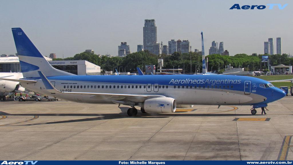 AeroTV - Boeing 737 matrícula LV FQZ da Aerolineas Argentinas no Aeroparque