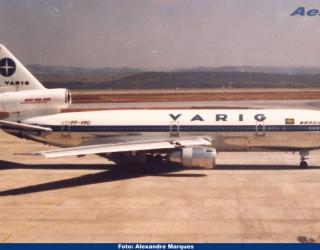 AeroTv - DC 10 da Varig matrícula PP VMD em Confins em 1988